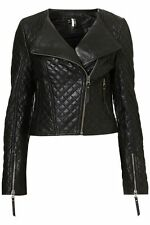 NWOT TOPSHOP QUILTED 100% GENUINE LEATHER CROPPED MOTO JACKET~US 4/UK8/SMALL~HOT