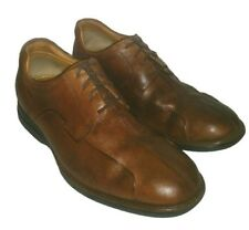 Johnston & Murphy Men's Shoes Size 12M Brown Leather Split Toe Oxfords Sheepskin