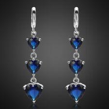 Xmas Jewelry Lady Heart Blue Sapphire White Gold Plated Earrings Hoop Earring