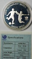 1988 South Korea 10000 Won Silver Proof Coin Commemoration of Olympic Games COA