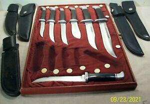 1970's~BUCK KNIVES~7 KNIFE DISPLAY w/121, 120, 119, 118, 105, 103, 102, +SHEATHS
