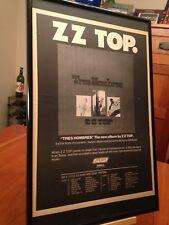 "2 Big 11X17 Framed Zz Top ""Tres Hombres"" Lp Cd Promo Ads w/ 1973 Tour Dates!"