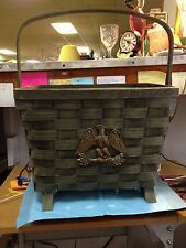 Woven, Wooden Basket Style Magazine Rack-e & m