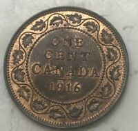 1916 Canada 1 One Cent - Nice Red Brown Uncirculated
