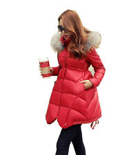 Women Real Fur Collar Long Thick Duck Down Jacket Down Coat Parka Hooded Winter
