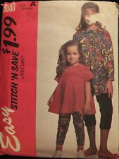Sassy OOP McCALLS 6080 Girls Trapeze Top & Leggings PATTERN 3-4-5-6 UC