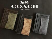 NEW COACH MEN'S Multiway Zip Card Case In Signature Canvas F66649 $125