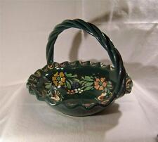 Studio Pottery Slipware Green Basket Decorated with Birds & Flowers seal mark