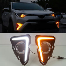 FOR 2016-2018 TOYOTA RAV4 LED DAYTIME RUNNING LIGHT FOG LAMP W/ TURN SIGNAL 2PCS