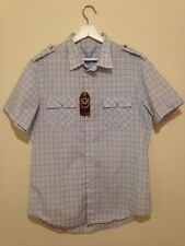 Benzini Men's Large Checked Blue Shirt 44' Chest BNWT RRP £30