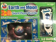 EARTH AND MOON 3D Giant Floor Puzzle W/Glasses Frank Schaffer Publications NEW