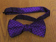 Purple Metalic Box Pattern Pre Tied Bow Tie Steampunk Retro Tuxedo Wedding Prom