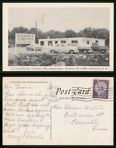 Portsmouth NH Lacava Co Lobsters 1958 Advertising Postcard