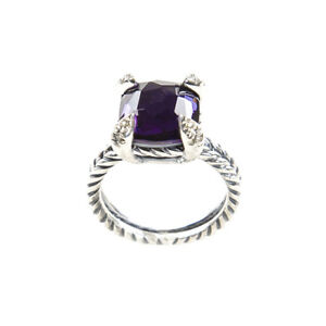 DAVID YURMAN Chatelaine Ring with Black Orchid & Diamonds 11mm Sz 5 $800 NEW