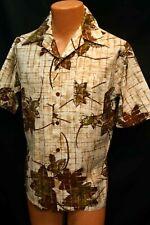 M JANTZEN Vtg Barkcloth Hawaiian SHIRT 1960s Brown Floral Tiki Luau Mens 60s Top