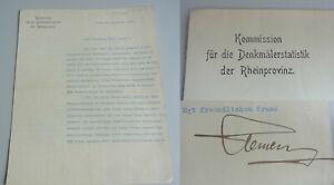 Denkmalpfleger Paul CLEMEN: Brief BONN 1912 an Kunsthistoriker Christian RAUCH