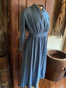 BEST Early Antique Ladies Blue Calico Farm Prairie Dress Textile AAFA Peg Rack