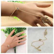 Fashion Women Gold Plated Leaf Ring Hand Chain Bracelet Crysal Rhinestone Jewel