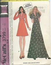 M 3799 sewing pattern 70's Hippie Boho DRESS in 2 lengths sew Retro Chic size 11