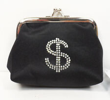 Black Change Purse with Rhinestone Dollar Bill Design