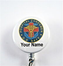 US NAVY HOSPITAL CORPSMAN ID BADGE RETRACTABLE,MILITARY.NURSE,DOCTOR,RN,VET.