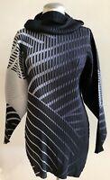 NWOT ISSEY MIYAKE Turtleneck Long Sleeve Tunic Top Blouse | Size 2 | Black/Gray