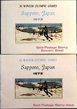 AJMAN 1970 653 A-B Block 219 FOLDER GOLD Winter Olympics 1972 Sapporo Skiing MNH