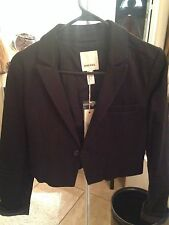 New $190 DIESEL JEANS Womens small Black Cotton Giuffe Crop LS Jacket Blazer