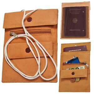 BOCCX großer einfacher Brustbeutel Leder mit Klarsichtfach Reisepass Impfpass