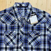 Rock 47 by Wrangler Long Sleeve Button SNAP Western Shirt Plaid Mens Medium NWT