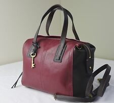 Fossil Red Wine Colorblock Emma Leather Satchel