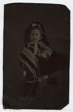 TINTYPE YOUNG GIRL IN PONCHO AND HEAD SCARF. COLORFUL FINE TINTING. RARE QUALITY