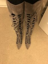 new womens faux suede gray lace up pointy nose knee high boots ShoeDazlle sz 7.5
