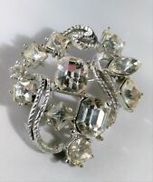 Vintage Retro Mod Abstract Brooch Pin Silver Tone Rhinestone Lapel Hat Scarf