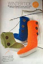 KNITTING PATTERN Ladies Slipper Boots Button Slippers Bergere de France Socks