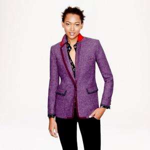 J Crew Collection Ryan Sz 6 Purple Harris Tweed Blazer Jacket