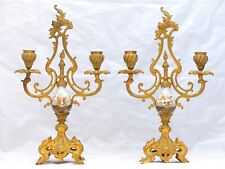 Gorgeous Pair French Antique Candlestick Bronze SEVRES Porcelain Candelabra 19TH