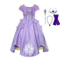 Girls Sofia Long Dress  Sequined Sophia Princess Costume Party Cosplay Dress up