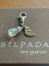 "Sterling Silver Clip On Charm C2550 Silpada ""On Angels Wings"" Brass, Crystal &"