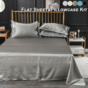 Extra Deep Satin Silk Full Fitted Sheet Bed Sheets & Pillow Case Full/Queen/King
