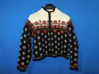 Icelandic Design M Beige Black Red Floral Cardigan Sweater Wool Lined Jacket Zip