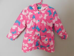 Hatley Girls Pink Blue Butterfly Raincoat Terry cloth Lining sz 3