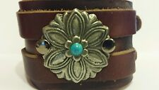 Native American Concho Style Bracelet Cuff Leather Bracelet
