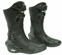 Spada X-Race Motorcycle Motorbike Waterproof Leather Boots - Black All Sizes