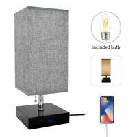 LED Grey Table Lamp Desk Nightstand Lightings USB Charging for Reading Bedroom
