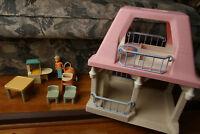 Vintage Little Tikes Dollhouse Pink Roof w/ Figure & Furniture Table, Chairs