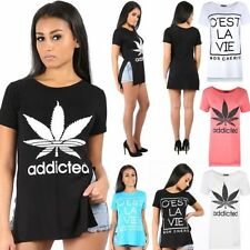Viscose Slogan Plus Size T-Shirts for Women