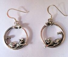 Sterling Silver Cat & Mouse 925 Earrings