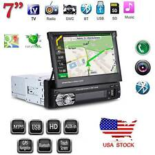 "Single 1 Din 7"" GPS Flip Car Stereo Radio Player Touch Screen USB SD AUX + Map"