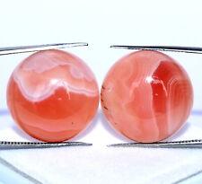 Natural Rhodochrosite Round Cabochon Pair 18 mm Calibrated Loose Gemstones
